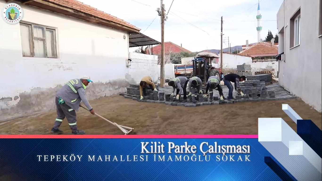 Fen İşleri Müdürlüğüne bağlı ekiplerimizin bir bölümü Tepeköy Mahallesi İmamoğlu Sokakta kilit parke döşeme çalışmalarına başladı