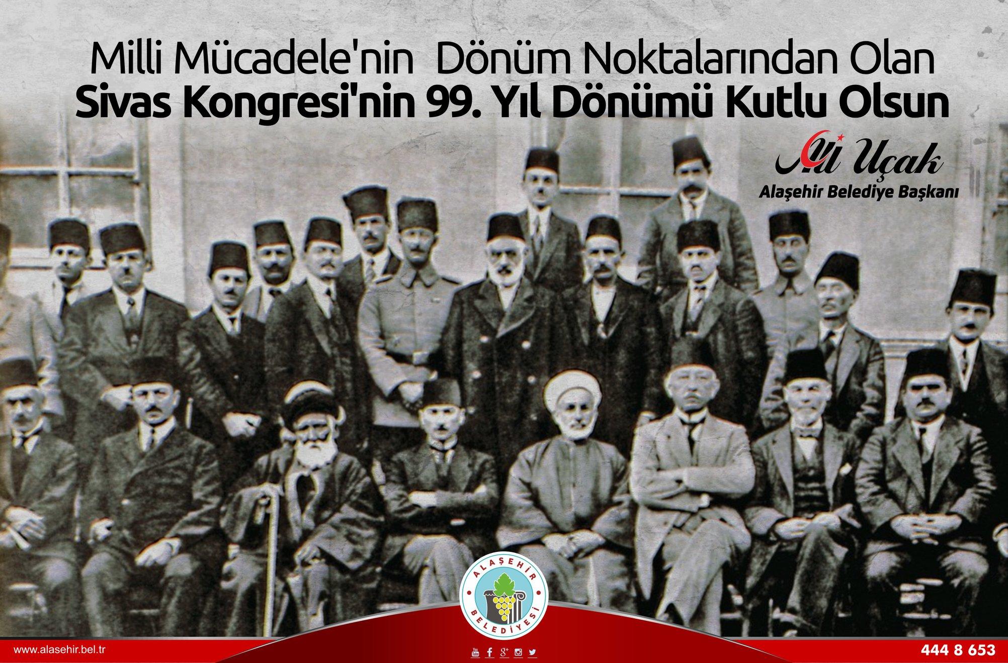 Milli Mücadele'nin dönüm noktalarından olan Sivas Kongresinin 99. yıl dönümü kutlu olsun. Başta Gazi Mustafa Kemal Atatürk olmak üzere, tüm şehitlerimizi saygı ve şükranla anıyoruz