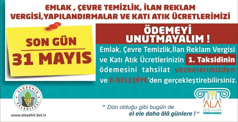 Emlak, Çevre Temizlik,İlan Reklam Vergisinde Son Gün 31 Mayıs